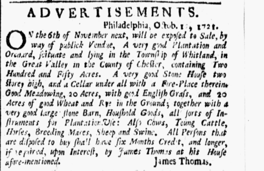 American Weekly Mercury October 12 1721